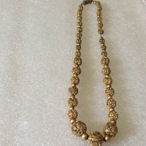 Antique engraved balls gold filled necklace